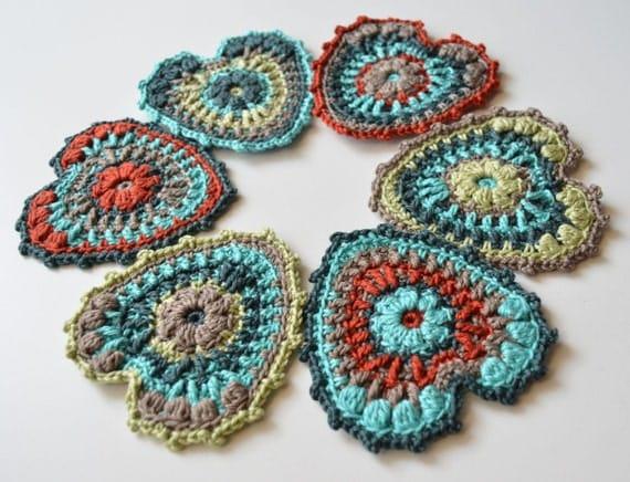 Heart Decoration Knitting Pattern : Crocheted Heart Pattern Garland party decoration Hanging