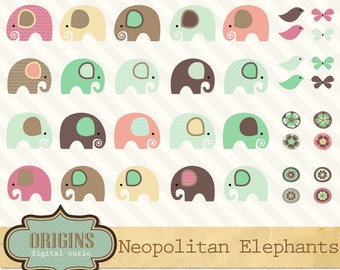 Cute Baby Elephant Clipart, Elephant Clip Art, baby shower, elephant vectors and png clipart set, scrapbook embellishments, commercial use