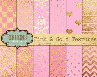 Pink and Gold Textures - 12 Pack Premium Digital Paper Gothic, Grunge, Damask Pattern