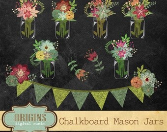 Chalkboard Floral Mason Jars Clipart - Rustic Shabby Chic Floral Clip Art for Weddings, Save the Date, Scrapbooking, Chalk Texture