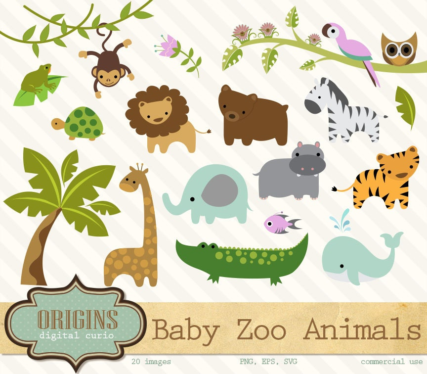 Baby Zoo Animals Clipart PNG and Vector Clip art Set
