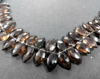 AAA smoky quartz Faceted marquise Shape Briolette Beads 6x10 mm(approx)