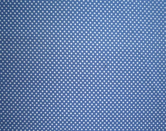 Blue & White Polka Dot Fabric - 100% Cotton  - 1/2 Yard Only