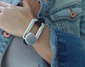 Leather Bracelet with Button Closure