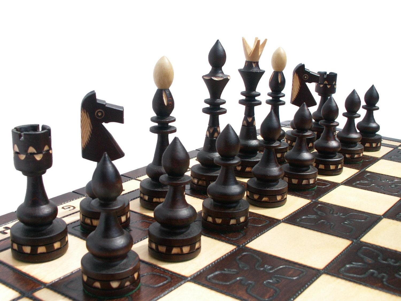 Elegant Wooden Chess Set Handmade 50x50cm By Stylishchess
