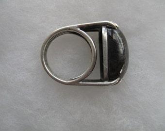 Modernist Artisan Ring - Sterling Tiger Eye or Hawk's Eye -- 126