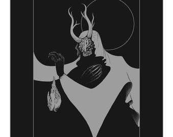 """Stillness - minimalist occult art print at 8x10"""""""