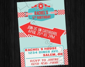 1950's Diner Themed Printable Birthday Invitation