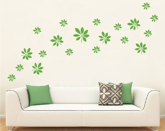Wall Vinyl Decal Set of 21 Leaves in various sizes