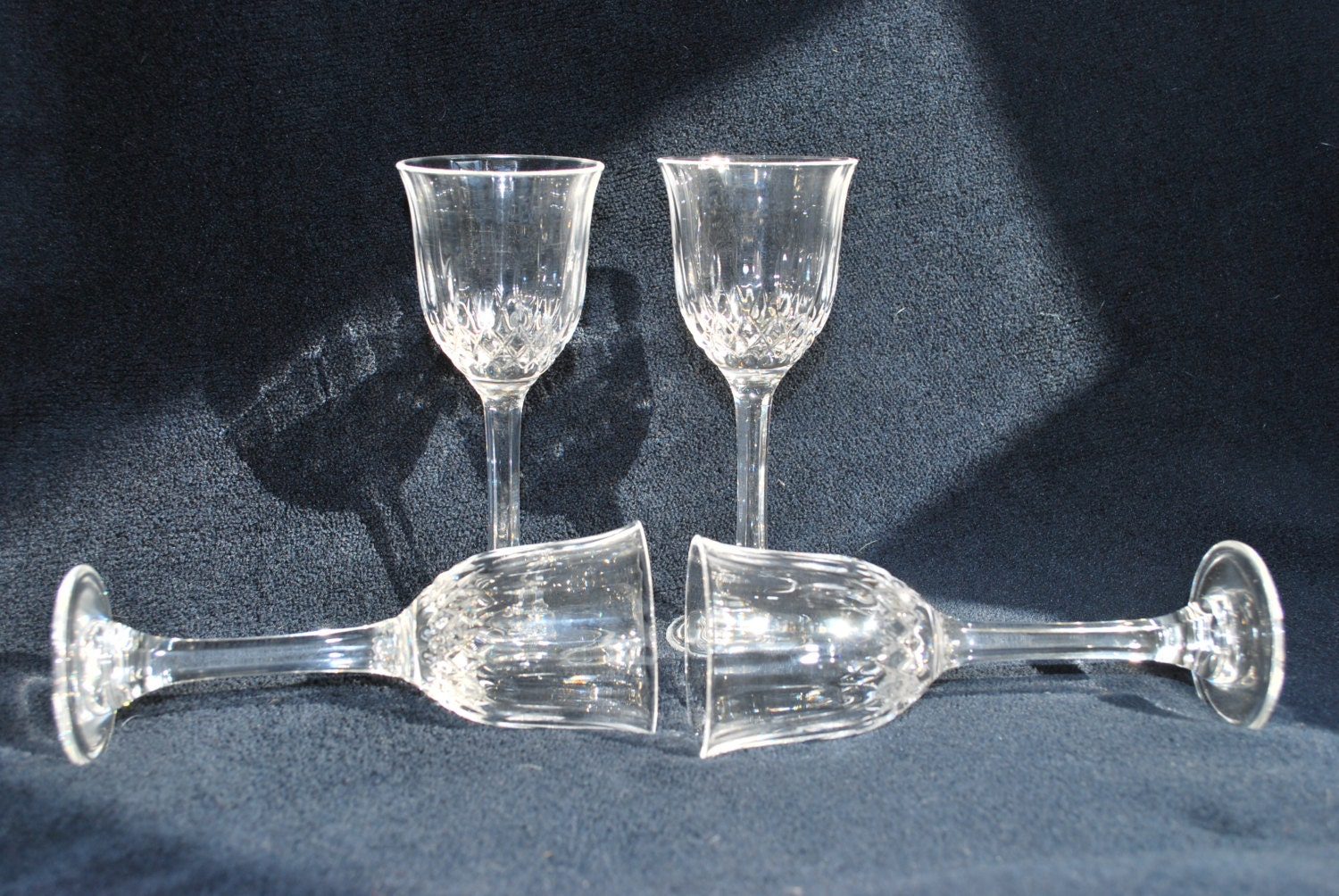 Vintage sherry glasses crystal d 39 arques france cordial or for Arc decoration arques