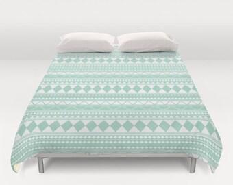Mint Green Tribal Duvet Cover - Tribal Teen Bedding - Girls Room Decor