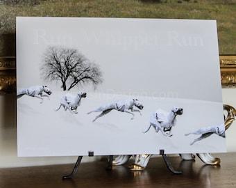Whippet Winter Run Art (C)