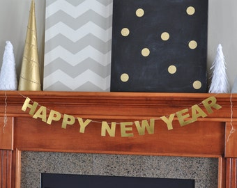 Happy New Year banner, Gold New Years decor, Gold Happy New Year banner, New Years decor