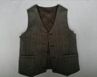 Boys Brown-Grey Wool Herringbone  Vest and   Woodland Wedding Boys Waistcoat Ring Bearer Outfit