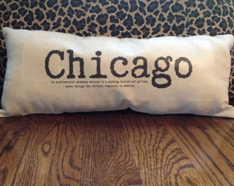Chicago - Chicago Pillow, Chicago, city pillow, original poetry, chicago art, gift idea, typewriter font, shabby chic pillow, word pillow