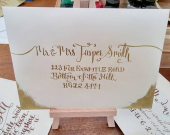 Gold Wedding Envelopes and Calligraphy