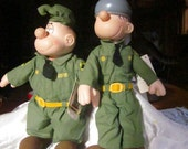 "BEETLE BAILEY & SARGE Army Dolls , Vintage Comic Strip Dolls, ,13"" Presents /King Features 1985"