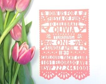 6 Papel Picado Invitations, Fiesta Party Invites, Paper Cut Mexican Invitations, SET OF 6
