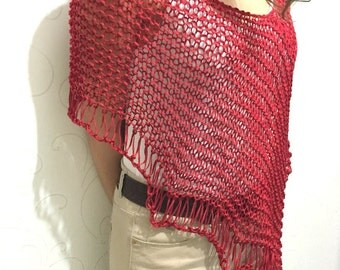 Hand knit Women Red Poncho Light Weight Spring Summer Poncho Women Accessories Scarves  Beach Cover Up Loose Knitting