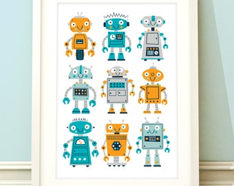 Robot nursery print, boys robot print, robot art, boys room art, childrens wall art, toddler boy, nursery decor, boys bedroom, robot print