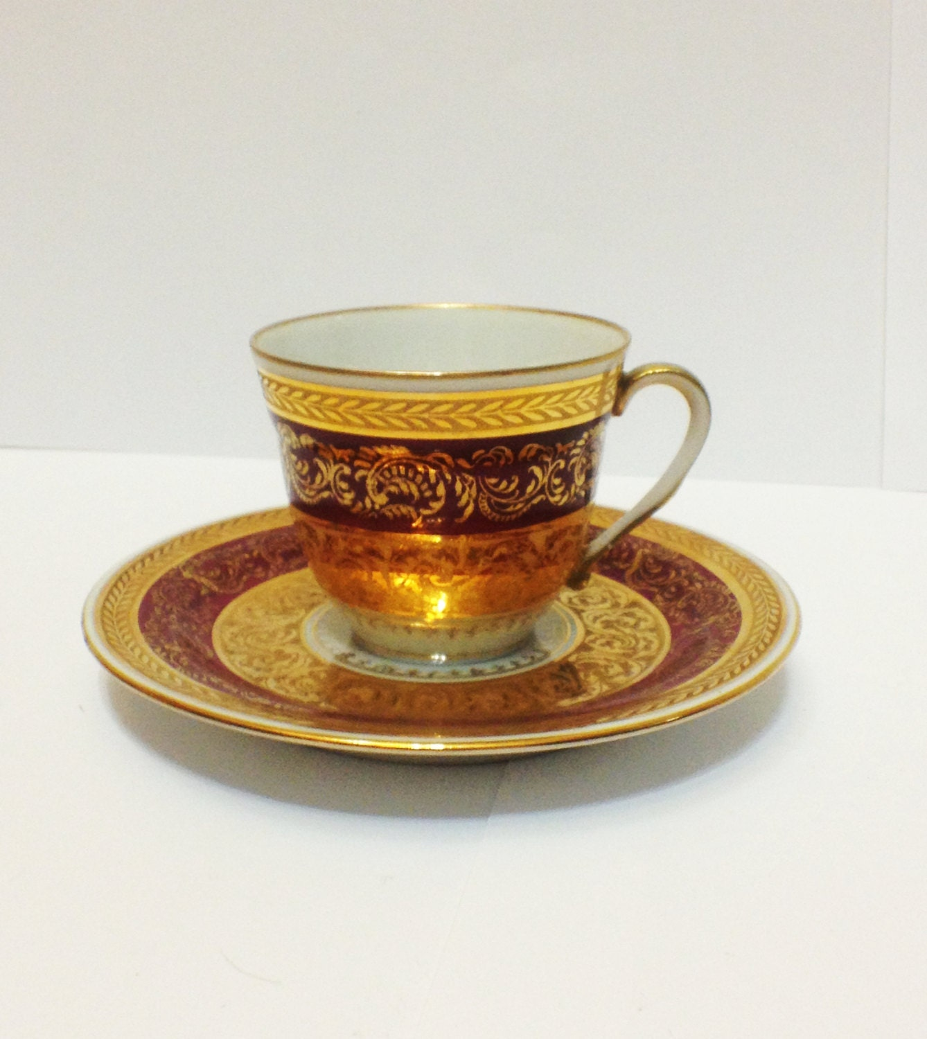 limoges demitasse cup and saucer maroon double encrusted. Black Bedroom Furniture Sets. Home Design Ideas