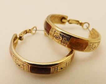 Gold Tone Large Vintage Detailed Hoop  Earrings