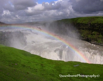 Rainbow Waterfall in Iceland, Gulfoss Iceland, Landscape, Waterfall Photography, Rainbow Photography, Waterfalls, Iceland, Wall Art