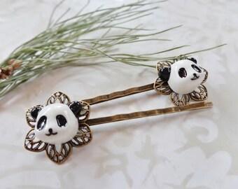 A Set of 2 Black and White Panda Bear Hair Clips