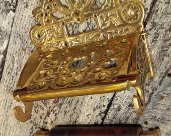 Victorian - Toilet Paper Holder in polished Brass