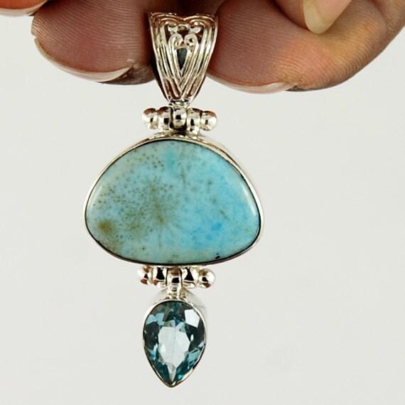 caribbean larimar pendant blue topaz by jewelrycraftsupplier