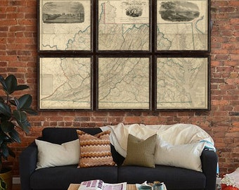 "Map of Virginia 1859, Huge old map of Virginia, 6 sizes up to 90x60"" (225x150 cm), Virginia map in 1 or 6 parts - Limited Edition of 100"