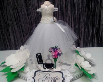 2 PC Bridal shower centerpiece, mini bridal dress, paper centerpiece.
