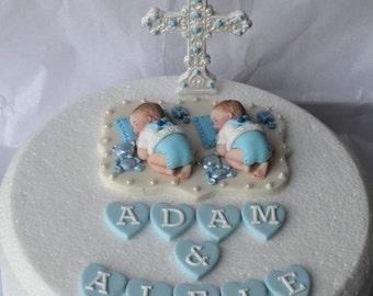 Personalised Edible Twin Baby Christening Baptism Cake