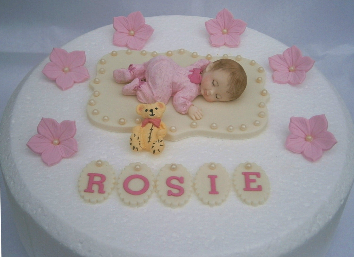 Edible baby girls Christening / 1st birthday cake topper.