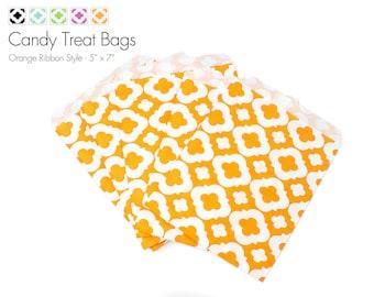 "25 Orange Ribbon Style Candy Treat Bags - 5"" x 7"""