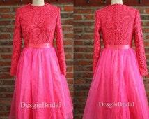 Fuschia Lace Ball Dress,High Quality Hot Lace Dress,Boutique Shift Dress,Tea Length Party Dress,Vintage Ball Gown-- High Neck Hot Pink