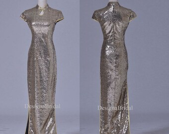 Wedding Qipao Shiny Sequins with Side Slits,Sequin Wedding Dress,Chinese Wedding Qipao Dress,Fashion Bridal Dress/Gown,Unique Prom Dress