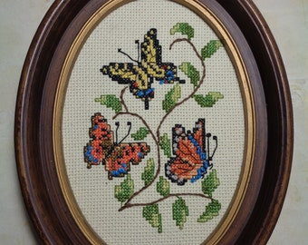 Vintage  Framed  Embroidery / Needlework /  Embroidery Hoop Wall Art / Cross Stitch / Butterflies