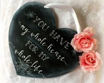 Rustic Chalkboard Wedding Heart Sign, Rustic Wedding, Wedding Chalkboard, Handmade Wedding, Handlettered Wedding Sign