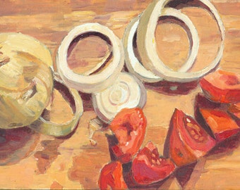 "7"" x 5"" Original Oil Painting. Tomatoes Onions. Art. Anniversary Gift. Christmas Present. Wedding Present. Food Art. Kitchen Art. Still Life"