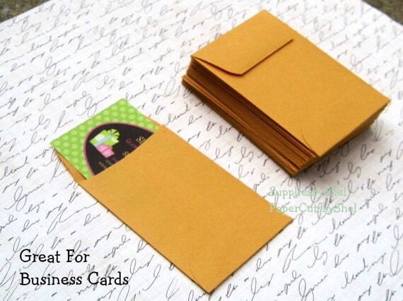 Business Card Envelopes 25 ct 2 25 x 3 5 by SunshinePaperWorks