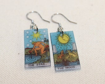 Moon and Star Tarot Card Earrings