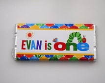 Hungry little caterpillar Kids Birthday, Baptism, Christening, personalised chocolate bar, bomboniere, favour ** Minimum order of 20***
