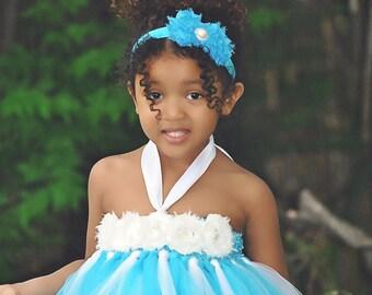 Turquoise Shabby Chiffon Headband, Turquoise Headband, Baby Headband, Toddler Headband, Girls Headband
