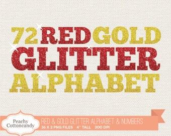 BUY 2 GET 1 FREE Digital Red & Gold Glitter Alphabet Clip Art / Red Gold Sparkle Alphabet Clipart / digital alphabet - commercial use ok