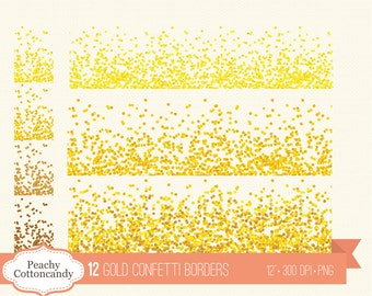 BUY 2 GET 1 FREE 12 Gold Confetti Borders Clipart - glam gold confetti clip art - digital confetti border - Personal and Commercial Use