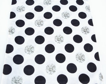 Black Off White and Gray Polka Dots Printed Knit Jersey Fabric 34 Inches in Length