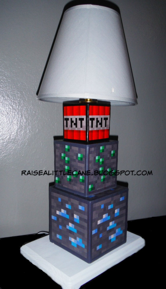 Items Similar To Minecraft Inspired Desk Lamp On Etsy