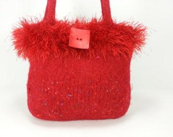 Hand Knit and Felted Red Purse Handbag Eyelash Yarn with 2 handles