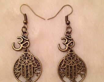 Bronze Ohm Hamsa Tree Of Life or Key Earrings